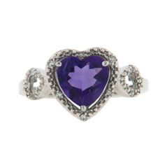 Diamond Heart Shaped Amethyst Birthstone Sterling Silver Ring Available Exclusively at Gemologica.com