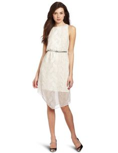 Kensie Womens Cable Knit Chiffon Dress Birch Multi XLarge >>> Click image for more details.