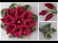 addicted flower crochet, leaf, bud and butterfly for .For Vanessa Marcondes application. Crochet Flower Tutorial, Crochet Flower Patterns, Crochet Designs, Crochet Flowers, Freeform Crochet, Crochet Doilies, Crochet Lace, Crochet Stitches, Love Crochet