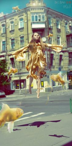 gold fish girl - I totally have this dream all the time.