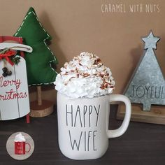 Faux Whipped Cream Mug Topper featuring a caramel drizzle and faux nuts. Perfect to display on your Coffee bar, Rae Dunn Mug Collection, or to use as a photography prop