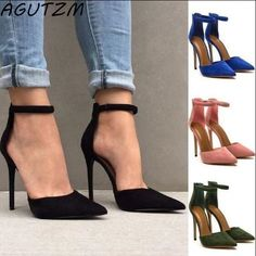 5fd16450ac3a AGUTZM Fashion Women Sandals Female Sexy Ankle Strap High Heels Suede Party Shoes  Open Toe Buckle