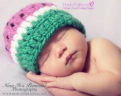 Crochet PATTERN - Crochet Watermelon Hat Pattern