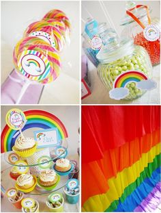 Rainbow cupcake and candy party ideas.