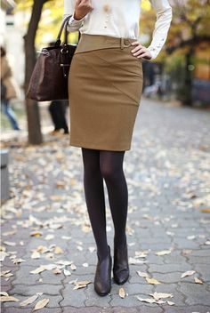 Solid Knee-Length Pencil Silhouette Short Tailored Skirt | Stylish Beth