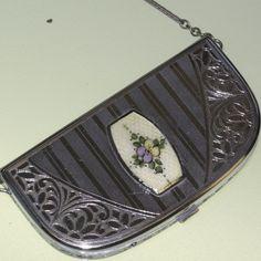 art deco COMPACT PURSE Elginite Eam  guilloche enamel chrome  NO.00268.