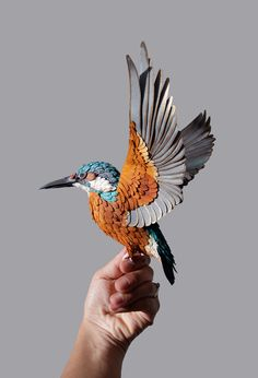 Lifelike Paper Birds by Diana Beltran Herrera sculpture paper birds - (this is a bird sculpture made of paper, not an actual bird) #Art #AnimalArt