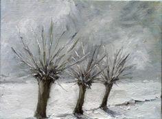 Snow Landscape Winter Trees Netherlands oil by NancyvandenBoom, €150.00