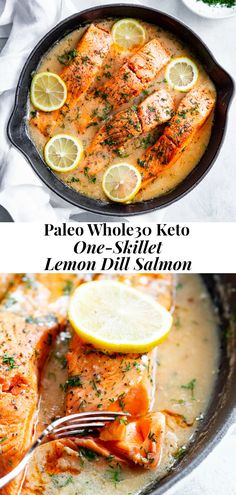 This lemon dill salmon with a creamy sauce is made all in one skillet in under 30 minutes! I dairy-free, Paleo, compliant and keto friendly too. Healthy Breakfast Recipes, Healthy Eating, Healthy Recipes, Paleo Whole 30, Whole 30 Recipes, Lemon Dill Salmon, Planning Budget, Menu Planning, Veggie Noodles