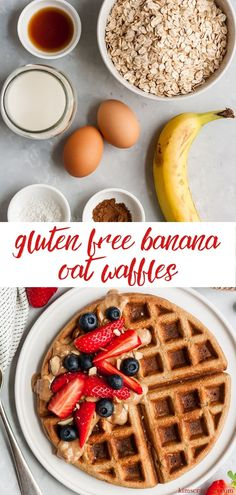 Healthy Gluten Free Banana Oat Waffles are light, crispy-on-the-outside, fluffy-on-the-inside, delicious waffles. The perfect tasty, nutritious breakfast! Clean Eating Waffles, Healthy Waffles, Gluten Free Waffles, Gluten Free Banana, Clean Eating Breakfast, Quick Healthy Breakfast, Nutritious Breakfast, Healthy Breakfast Smoothies, Fruit Smoothies
