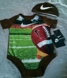 new #nike 2 pcs outfit bodysuit romper set football #baby shower gift 0 - 3 m from $16.99 Baby Boy Football, Football Baby Shower, Baby Boy Gifts, Baby Shower Gifts, Unisex Baby Clothes, Future Baby, Baby Items, Cloths, Bodysuit