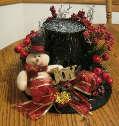 HANDMADE SNOWMAN HAT CHRISTMAS DECOR-TABLE DECOR (BLACK & RED WITH HOLLY BERRY! SO CUTE! GOT THIS IDEA FROM PINTEREST AND CHANGED IT UP A BIT. CHECK IT OUT ON EBAY!