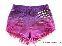 Want too! Black Denim Shorts, Studded Shorts, Summer Shirts, Jean Outfits, Fashion Outfits, Dip Dye Shorts, Diy Shorts, Diy Summer Clothes, Diy Clothes