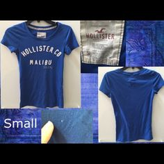 Hollisrer Malibu blue t-shirt size small Hollisrer Malibu blue t-shirt size small gently used good condition no stains no holes no tears Hollister Tops Tees - Short Sleeve