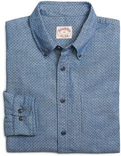 $89, Blue Chambray Long Sleeve Shirt: Brooks Brothers Chambray Dot Print Sport Shirt. Sold by Brooks Brothers. Click for more info: http://lookastic.com/men/shop_items/169842/redirect