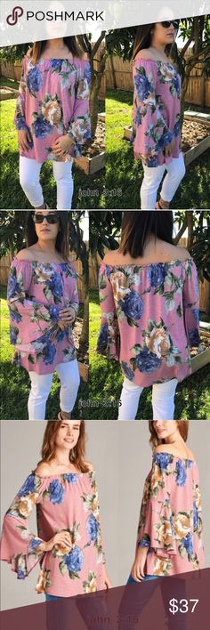 Off shoulder tops Beautiful floral print off shoulder tops with bell sleeves is all the rage for the spring/summer - get yours quickly  95% polyester 5% spandex - price is firm                                                    Small bust - 36' Medium bust - 38' Large bust - 40' Boutique Tops