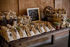rustic coffee favor display