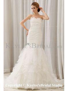 Organza Sweetheart Court Train Mermaid Wedding Dress with Ruffle
