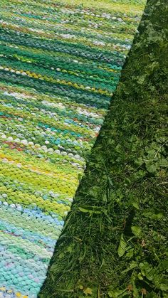 Denim Rug, Recycled Fabric, Woven Rug, Rug Making, Scandinavian Style, Shades Of Green, Color Inspiration, Fiber Art, Pattern Design