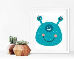 Critter Face Print - Monster Print, Printable Wall Art, 8x10 Kids Print, 8x10 Nursery Print, Printable Home Decor, Kids Decor, Kids Bedroom by creamcityprintables on Etsy https://www.etsy.com/listing/536005765/critter-face-print-monster-print
