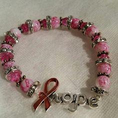 Handmade Cancer awareness bracelet.  $12 + shipping. Sold.