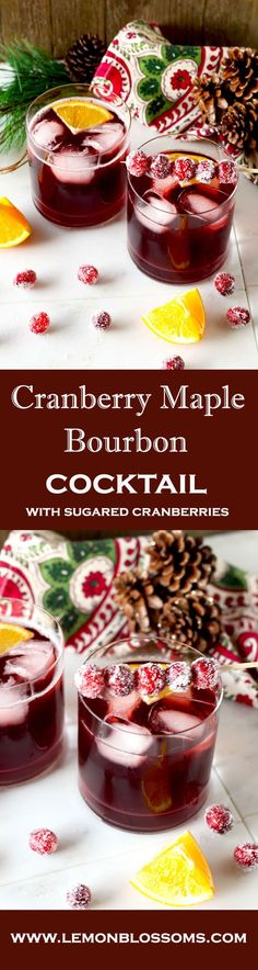 Cranberry Maple Bourbon Cocktail - The right balance of sweet and tart, with the warmth of bourbon and subtle orange tones. This Cranberry Maple Bourbon Cocktail is bright, delicious, and perfect for the holiday season! Bourbon Cocktails, Winter Cocktails, Christmas Cocktails, Holiday Cocktails, Cocktail Recipes, Cocktail Ideas, Drink Recipes, Coffee Cocktails, Craft Cocktails