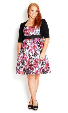 Plus Size Floral Gems Dress - City Chic - City Chic