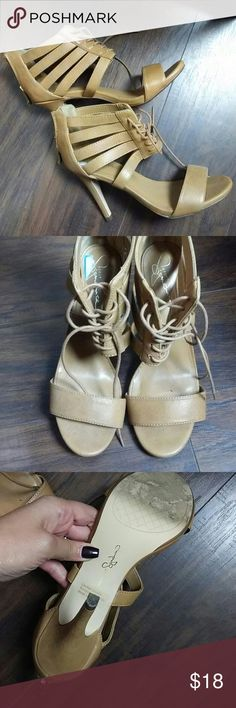 "tan caged heels Size 8.5 Style name "" Zesta"" Brand "" Report"" Report Shoes Sandals"
