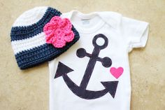 Girly Nautical Gift Set - Anchor Onesie & Matching Hat with Flower - Made to Order. $20.00, via Etsy.