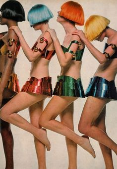 susan schoenberg, editha, kellie, moyra swan and barbara miller by bert stern, all wearing courrèges #courrèges