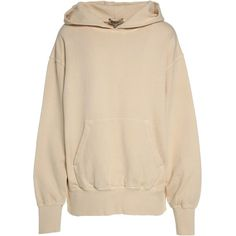 Yeezy by Kanye West Season 4 Boxy Fit Cotton Hoodie (2.724.365 IDR) ❤ liked on Polyvore featuring tops, hoodies, jackets, outerwear, sweatshirt, beige, pink long sleeve top, sweatshirt hoodies, long sleeve cotton tops and drop shoulder hoodie