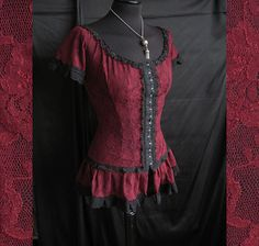 blouse frances, Victorian, Historical, steampunk, burlesque, gothic, burgundy lace, Somnia Romantica by Marjolein Turin