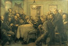 Krittegning av Erik Henningsen fra 1910: «Et møde i Bogstaveligheden 1. marts 1882», Det Nationalhistoriske Museum på Frederiksborg Slot. På bildet ses J.P. Jacobsen som leser høyt, Erik Skram helt til venstre.