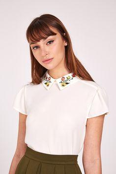 Louche+Kori+Embroidered+Collar+Top