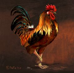 rooster paintings | Rooster painting 2 by *Reptangle on deviantART