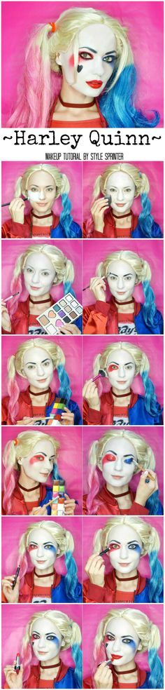 Harley Quinn Makeup Tutorial @SuicideSquadWB #SuicideSquad https://www.youtube.com/channel/UC76YOQIJa6Gej0_FuhRQxJg Super Hero shirts, Gadgets