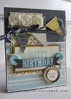 "Stamps: You're Amazing, Pennant Parade  Inks: Summer Starfruit, Pool Party, Basic Grey, Whisper White  Paper: Basic Grey, Summer Starfruit, and Very Vanilla CS, Comfort Cafe DSP  Accessories: Soda Pop Tops, Sycamore Street Buttons, 7/8"" Scallop Circle Punch, 3/4"" Circle Punch, Pennant Builder Punch, Flower Trim, Basic Grey Stitched Ribbon, Island Indigo Bakers Twine, Stampin' Dimensionals, Pool Party EP"