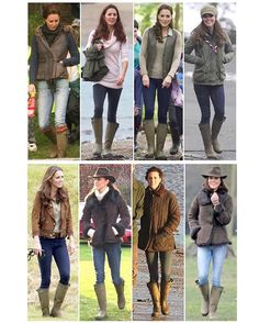 What Kate wears with her Le Chameau Vierzonoid Wellington Boots - £169/$242 British Country Style, Country Wear, Country Fashion, Country Outfits, Royal Fashion, Look Fashion, Style Kate Middleton, Winter Outfits, Casual Outfits
