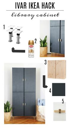 Anthropologie Hardware The post Ivar IKEA Hack-Library Cabinet appeared first on Schrank ideen. Ikea Hacks, Ivar Ikea Hack, Diy Hacks, Ikea Kallax, Ikea Office Hack, Ikea Hack Storage, Closet Storage, Ikea Hack Desk, Storage Ideas