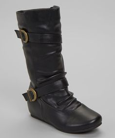 This Black Double Buckle Boot is perfect! #zulilyfinds