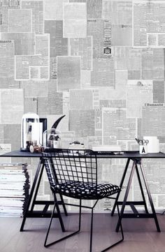 #CoolOffice #OfficeDesign / Old Newspaper Wallpaper | Via…