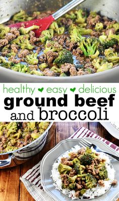 Healthy Ground Beef and Broccoli is a quick and easy skillet recipe that comes together in 15 minutes in just one pan! Healthy Ground Beef and Broccoli is a quick and easy skillet recipe that comes together in 15 minutes in just one pan! Healthy Ground Beef, Healthy Beef Recipes, Ground Beef Recipes For Dinner, Rice Recipes For Dinner, Dinner With Ground Beef, Broccoli Recipes, Recipe For Beef With Broccoli, Ground Beef Recipes Simple, Health Ground Beef Recipes