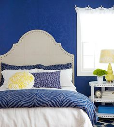 Make an easy carpeted headboard for a glamorous look! More ideas here: http://www.bhg.com/rooms/bedroom/headboard/cheap-chic-headboard-projects/?socsrc=bhgpin090714carpetedheadboard&page=3