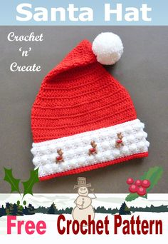 Christmas santa hat free crochet pattern, make for the family make to sell, head over to crochet 'n' create get this pattern now! #santahat #chistmascrochet #crochetchristmas #crochetncreate #crochet #howto #crochetpattern #freecrochetpattern #easypattern #freepattern #forbeginners #diy #crafts Crochet Cap, Easy Crochet, Crochet Santa Hat, Free Crochet, Crochet Crafts, Christmas Crochet Patterns, Crochet Christmas Ornaments, Holiday Crochet, Christmas Hat