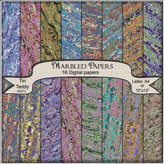 Marbled Papers Digital - 16 Victorian Style Marble Printable Backgrounds for Scrapbooking, Cardmaking, Books etc
