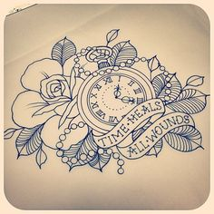 Tattoos, flower tattoos ve tattoo drawings. Time Tattoos, New Tattoos, Sleeve Tattoos, Tatoos, Time Heals Tattoo, Rip Dad Tattoos, Time Piece Tattoo, Ship Tattoos, Temporary Tattoos