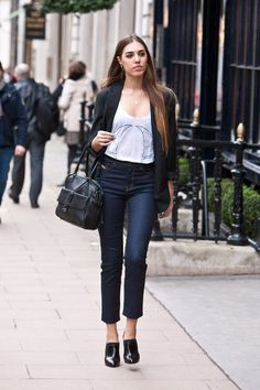 High waisted jeans - 'The muffin store is now closed' look !