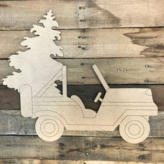 Golf Cart with Christmas Tree Cutout, Unfinished Shape, Paint by Line Wooden Cutouts, Wooden Shapes, Christmas Front Doors, Christmas Wood, Wooden Crafts, Diy Crafts, Wooden Letters, Wooden Signs, Christmas Yard Decorations