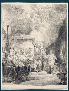 La muerte de la Virgen / Rembrandt f. 1639. – Amsterdam – Aguafuerte y punta seca ; huella de la plancha 410 x 314 mm.