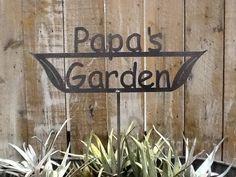 SHIP NOW  Papa's Garden Sign  Metal outdoor sign by metalgardenart, $19.95